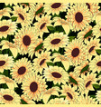 yellow flowers in a yellow vase pattern on a dark vector image