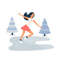 young girl skating on ice rink winter scene vector image