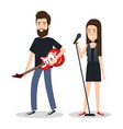 young woman singer and man guitar player vector image vector image