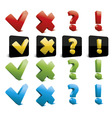 tick cross question and exclamation marks vector image