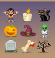 funny halloween icons-set 4 vector image
