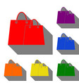 shopping bags sign set of red orange yellow vector image