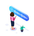 3d isometric voice message concept woman listens vector image vector image