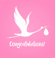 baby shower frame stork carrying a cute girl vector image vector image
