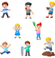 cartoon kids collection with different activity vector image