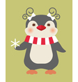 christmas penguin card vector image vector image