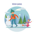 colorful father playing with children concept vector image vector image