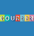 courier delivery character colourful collection vector image vector image