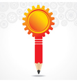 creative red gear pencil with copy-space vector image