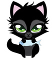 Cute black cat and fish vector image vector image