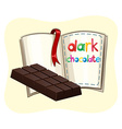 Dark chocolate and a book vector image vector image