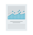 data graphs on a paper icon flat isolated vector image