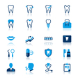 Dental flat with reflection icons vector image vector image