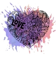 doodle colorful heart with paint splashes vector image vector image