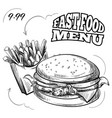 fast food menu with hand drawn hamburger and vector image vector image