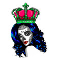 female skull with a crown and long hair queen of vector image vector image