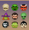 funny halloween icons-set 5 vector image vector image