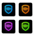 glowing neon shield with inscription 18 plus icon vector image vector image