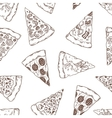 Hand drawn slices of pizza outline seamless vector image vector image