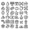 hanukkah icon set outline style vector image