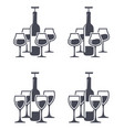 icons red wine bottles with corkscrew and wine vector image