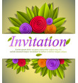 invitation event card with fresh green leaves and vector image vector image
