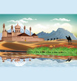 landscape - sunrise over the arab fortress the vector image