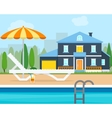 Lounge with umbrella near the pool vector image vector image
