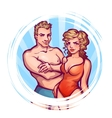 man and women in swimsuit vector image