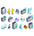 microbiology isometric icon set vector image vector image