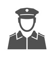 monochrome simple police officer icon flat vector image