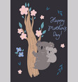 mother s day card with cute koalas vector image