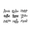 names of cities paris prague istanbul seoul vector image vector image