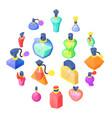perfume bottles icons set isometric style vector image