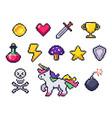 pixel game items retro 8 bit games art pixelated vector image