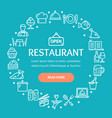 restaurant signs round design template thin line vector image vector image