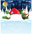 santa hat in the winter forest vector image