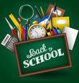 school supplies on blackboard background vector image vector image