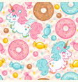 seamless pattern with cute unicorn vector image vector image