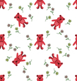 seamless pattern with red bears vector image