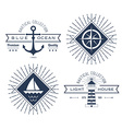set nautical logos badges and labels vector image