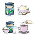 set of cartoon of milk powder vector image vector image