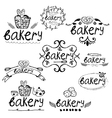 Set of hand written label for bakery theme vector image vector image
