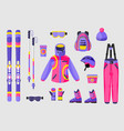 Set of snowboarding gear clothing equipment icons