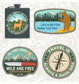 set outdoor adventure quotes symbol vector image vector image