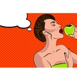 Sexy pop art woman with an apple vector image