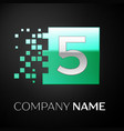 silver number five logo symbol in the green square vector image vector image