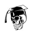 skull in graduation cap pr vector image vector image