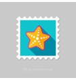 Starfishe flat stamp with long shadow vector image