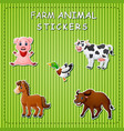 stration of cute cartoon farm animals on sticker vector image vector image